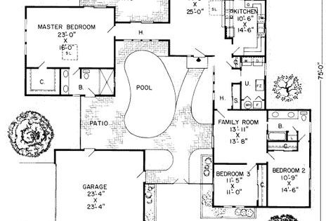 Shaped Houses Courtyards And House Plans On Pinterest