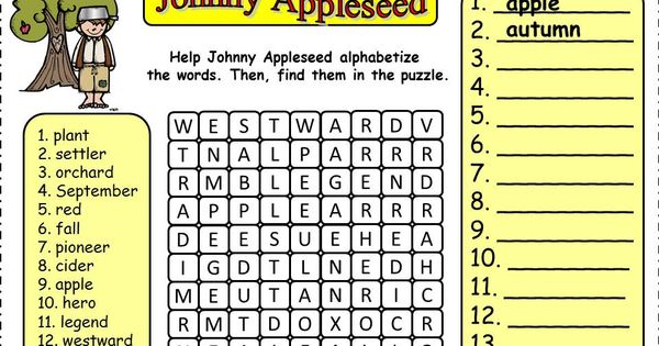 Johnny Appleseed FREEBIE: Alphabetize And Find Word Search