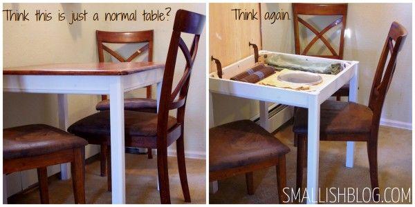 Hidden Storage Under Table Top Space Smallish Hidden Storage