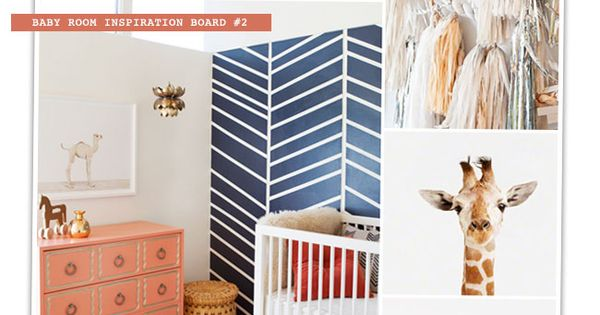 Nursery Mood Board - Corals, Navy + White with Baby Animals -