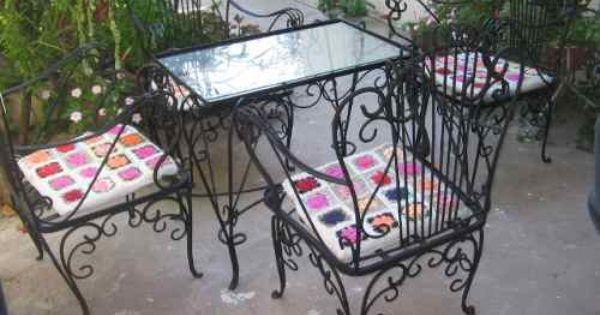 Antiguo juego de jard n en hierro forjado sillones mesa for Muebles de hierro forjado