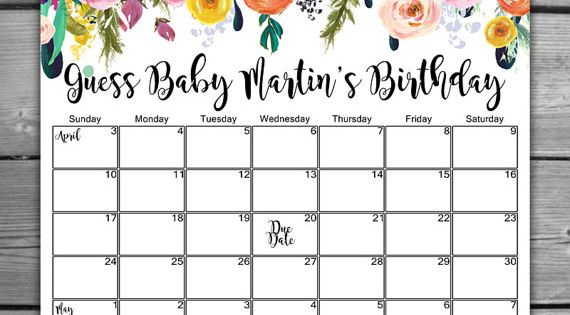calendar baby shower printable shabby chic baby shower calendar