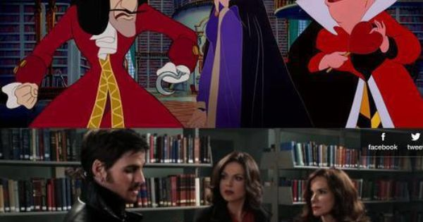 Disney's Characters as Once Upon A Time (Captain Hook, The Evil Queen, and the Queen of Hearts in Belle's Library)
