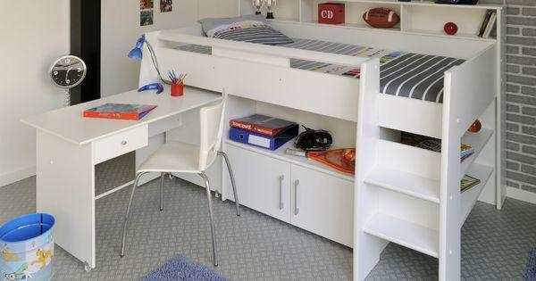 Uitschuifbaar bureau is handig voor een kleine kamer extra opbergruimte boven en onder het bed - Idee deco kamer kleine jongen ...