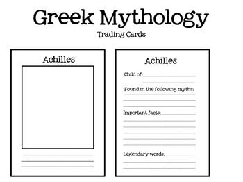 Greek Mythology Trading Cards Greek Mythology Mythology Word Study