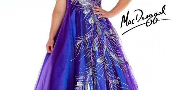 Strapless Peacock Feather Prom Gown In A Shimmering Purple