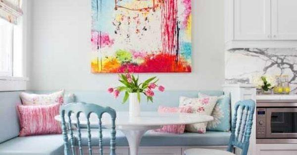 Esszimmer Eckbank+Stühle , rosa, blau Wohnzimmer Pinterest