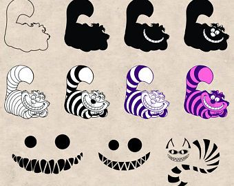 Black And White Circles Clip Art Ai Svg Dxf Eps Png Etsy Cat Clipart Cheshire Cat Tattoo Clip Art