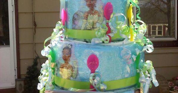princess and the frog diaper cake i made baby shower ideas