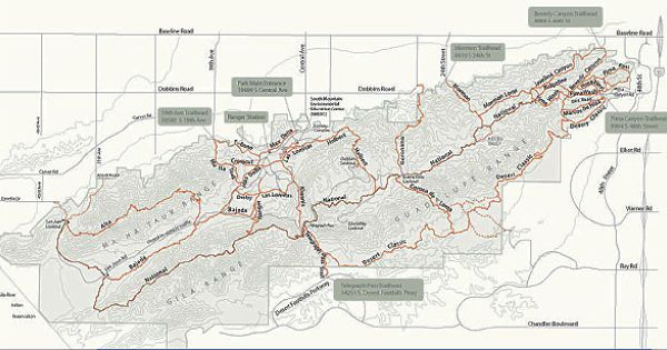South Mountain Hiking Trail Map With Images Hiking Trail Maps