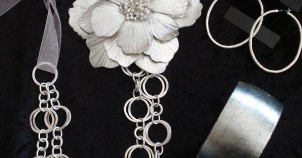 Large chain necklace, ribbon extender and a flower pin