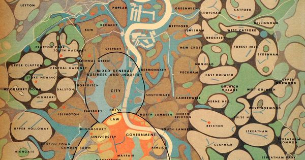 cartography / typography / functional analysis / urban analysis / Patrick Abercrombie's