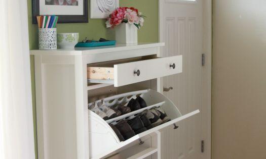 organized entry way (ikea shoe rack)