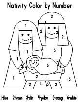 Fun Learning Printables For Kids Nativity Coloring Pages Christmas Color By Number Nativity Coloring