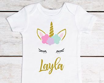 glitter gold Girl 2nd bday 3rd party tee Unicorn birthday personalized party clothes 1st birthday flowers Unicorn Birthday Shirt