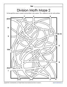 Division Math Maze 2 Free Printable Worksheets 1st Grade Math Worksheets Math Maze Math Division