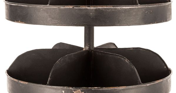 Antique Black 2 Tier Metal Tray Stand With Dividers