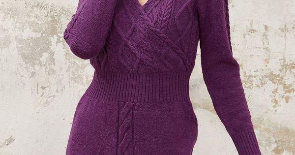 فستان شتوي محبوك لون بنفسجي Chic Hanim Knitwear Dress Dresses Fashion