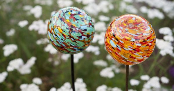 Nectar Trilogy Garden Art - hand blown glass solar art, available in