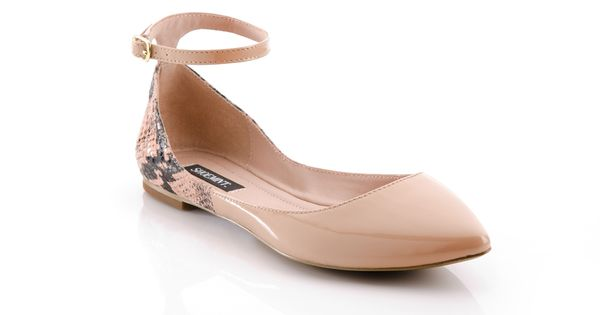 nude pointy flats with ankle straps