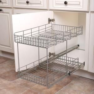 Real Solutions For Real Life 17 In H X 15 In W X 22 In D Half Shelf Pull Out Basket Cabinet Organizer In Silver Hsr15 R Fn The Home Depot Diy Kitchen Shelves Cabinet