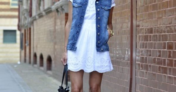 Jean jacket vest + white eyelet dress + strappy sandals = Summer