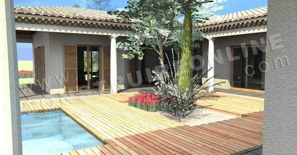 plan de maison en u mediterraneenne estran piscine 600 400 pixels maison. Black Bedroom Furniture Sets. Home Design Ideas