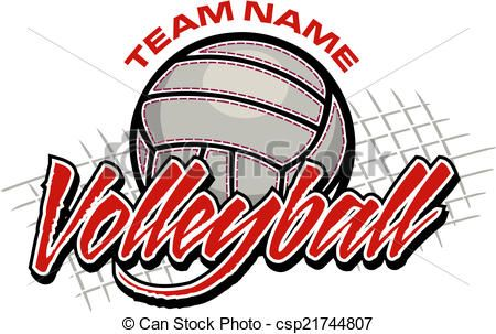 Vector Clipart Of Volleyball Team Design With Volleyball And Net Csp21744807 Search Clip Art Volleyball Team Volleyball Shirt Designs Volleyball Team Shirts