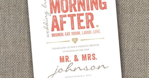 Day After Wedding Brunch Invitation: Wedding Brunch Invitation. DIY Brunch