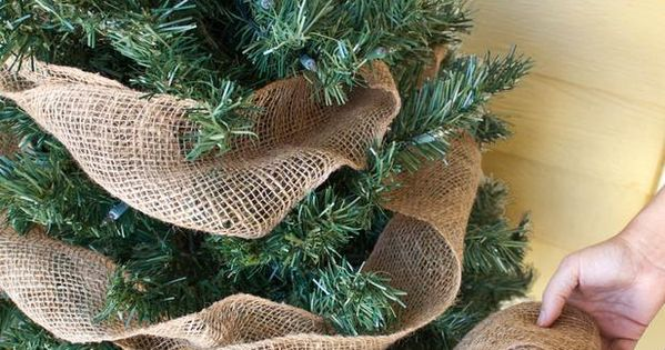 Using burlap in your Christmas tree! (add white lights!!)- front porch holiday