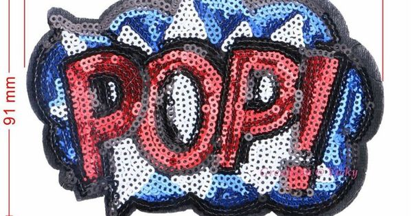 POP Slogan Embroidered Iron On Patches 120x91mm / 76x54mm For