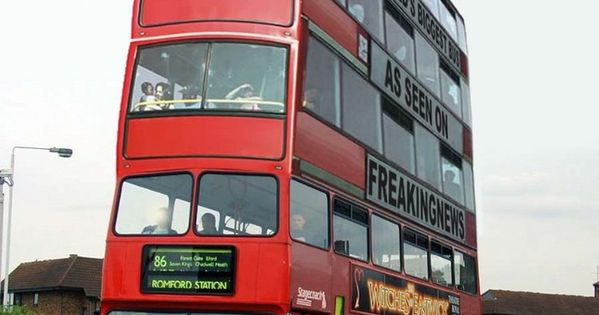 Believed to be the world's tallest bus. Builder unknown ...