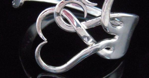 Silver Fork Bracelet Intertwining Hearts