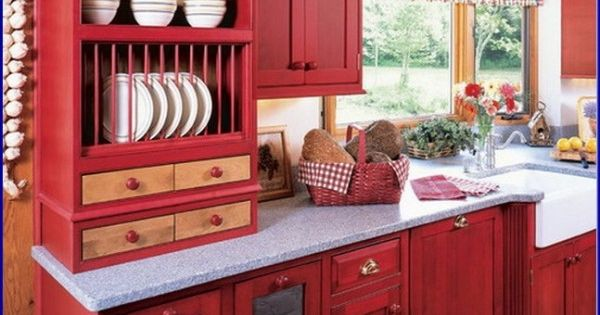 Perfect Red Country Kitchen Cabinet Design Ideas For