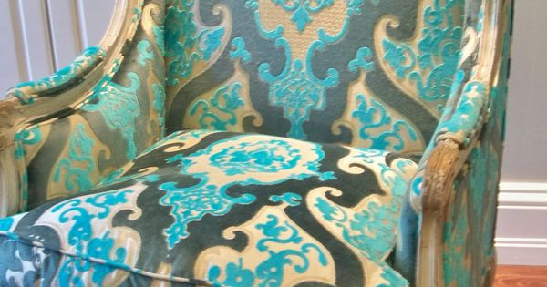 Victoria Dreste Designs: An Antique French Wing Chair recovered in cut velvet