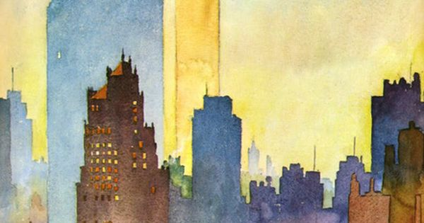 Water Color of New York Skyline by John Held Jr. @whitney