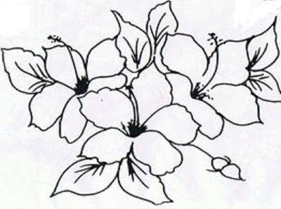 Risco Pintura Em Tecido Flores Hibiscos Pintura Em Tecido