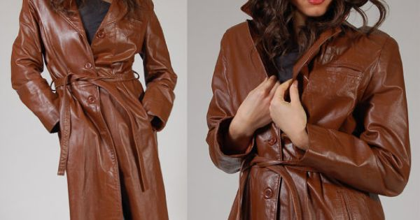 Womens Brown Leather Trench Coat - Coat Nj