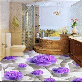 Purple Roses 3d White Waterproof Floor Wall Murals Floor Murals Waterproof Flooring Flooring
