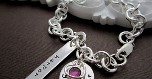 Gift For Goddaughter Birthstone Necklace Sterling By: Personalized Godmother Bracelet, Sterling Silver