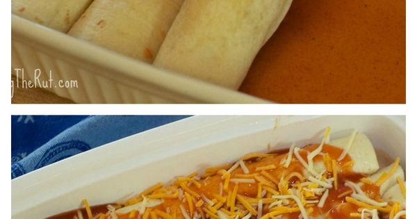 Easy Chicken Enchiladas made with precooked rotisserie chicken. Great for the freezer and gluten free when you use corn tortillas! www.leavingtherut...