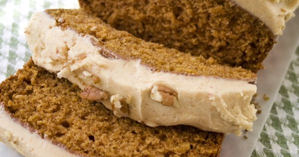 Pumpkin Bread with Pumpkin Buttercream Frosting.
