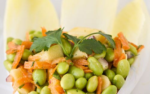 ... Miso Dressing on Endive Leaves | Edamame Salad, Miso Dressing and