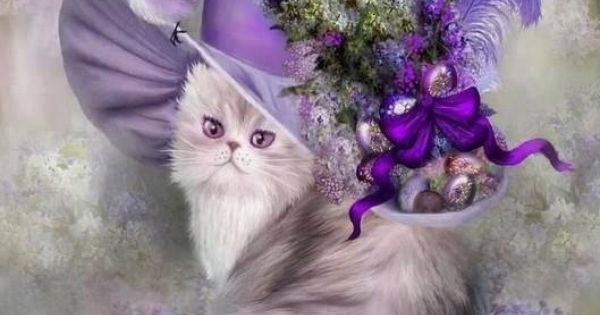 An Adorable And Feminine Purple Painting Of A Cute Persian