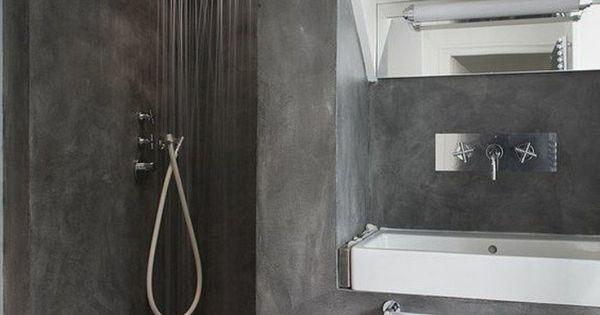 La salle de bain avec douche italienne 53 photos salle de bain en b ton beton cir et gris fonc - Faire douche italienne beton ...