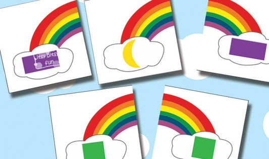 Printable Rainbow Color And Shape Learning Puzzles {Busy