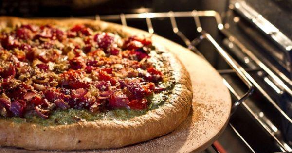 Roasted tomatoes, Pesto pizza and Basil pesto on Pinterest