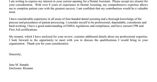 Resume Example, Example Of Cover Letter Dental Assistant