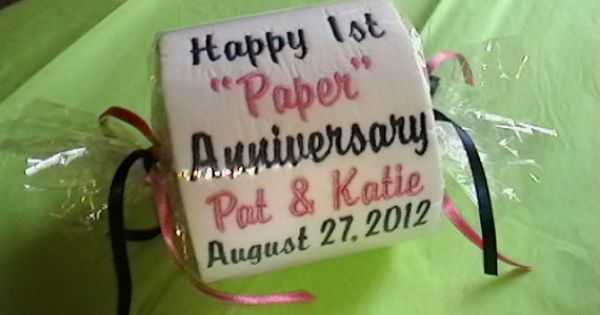 1st Wedding Anniversary Gifts Paper: Happy 1st Paper Anniversary Embroidered Toilet Paper