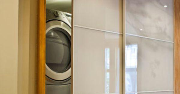 Door To Hide Washer And Dryer Sliding Door Modern Laundry Rooms